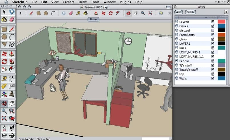 design of a room with the sketchup program