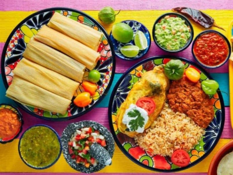 plate tamales mexican condiments