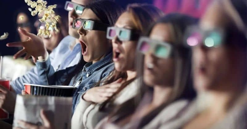 3D technology in movie theater people