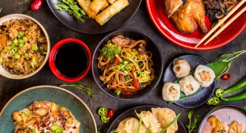 various dishes Asian gastronomy