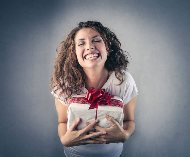 happy woman for the gift she received