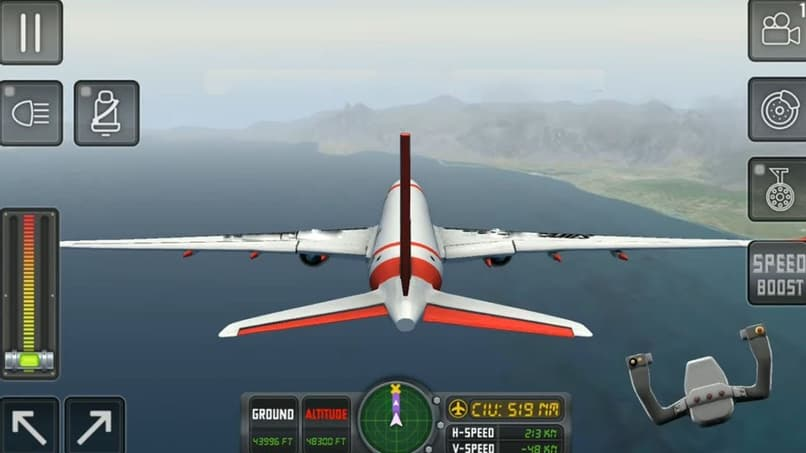 3d aerial view of an airplane and the simulator controls
