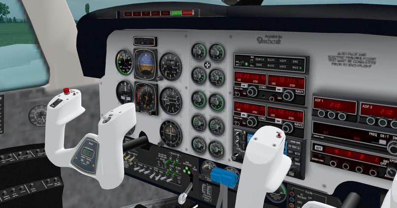 3d view of the controls of an airplane