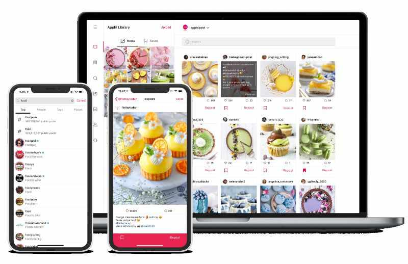 Schedule Instagram posts with Apphi on different devices