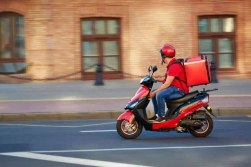 red delivery motorbike