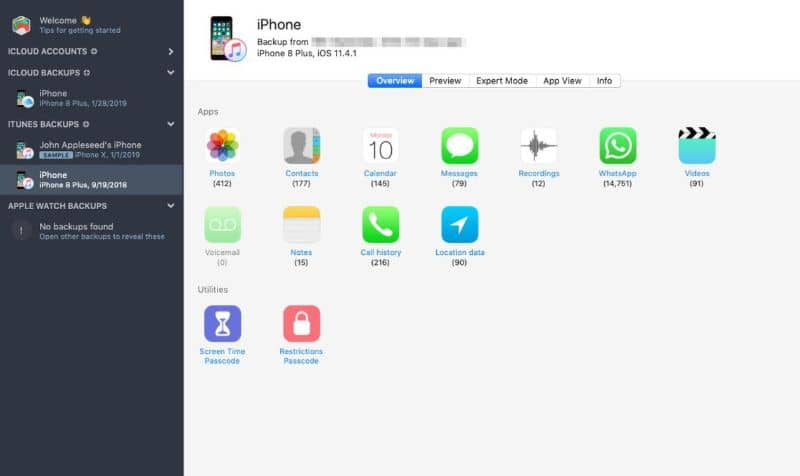 screen exporting contacts from iPhone