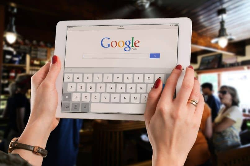 tablet with google keyboard