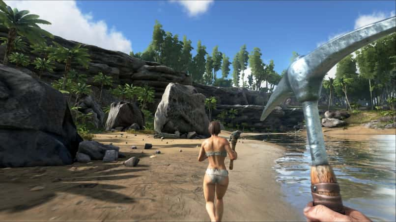 character with tool in ark