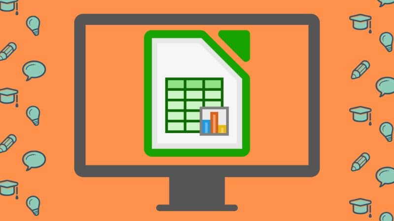 screen icon and LibreOffice with orange background and icons of light bulb pencil cloud and mortarboard