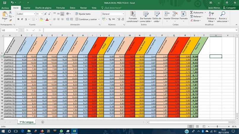 Excel sheet with colors