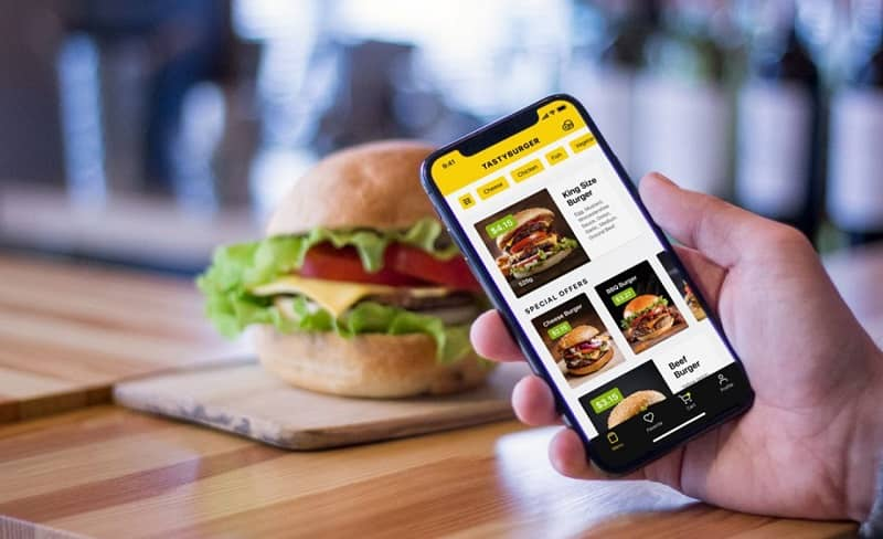 Mobile ordering a burger