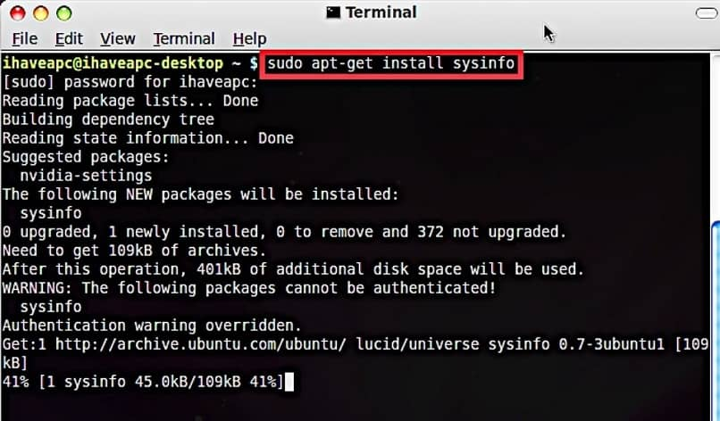 install the Sysinfo package on Ubuntu Linux