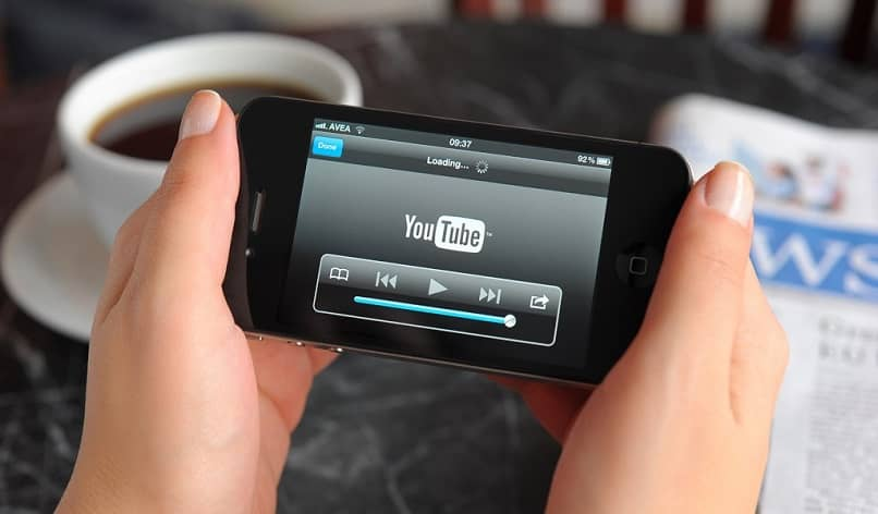 smartphone with youtube player