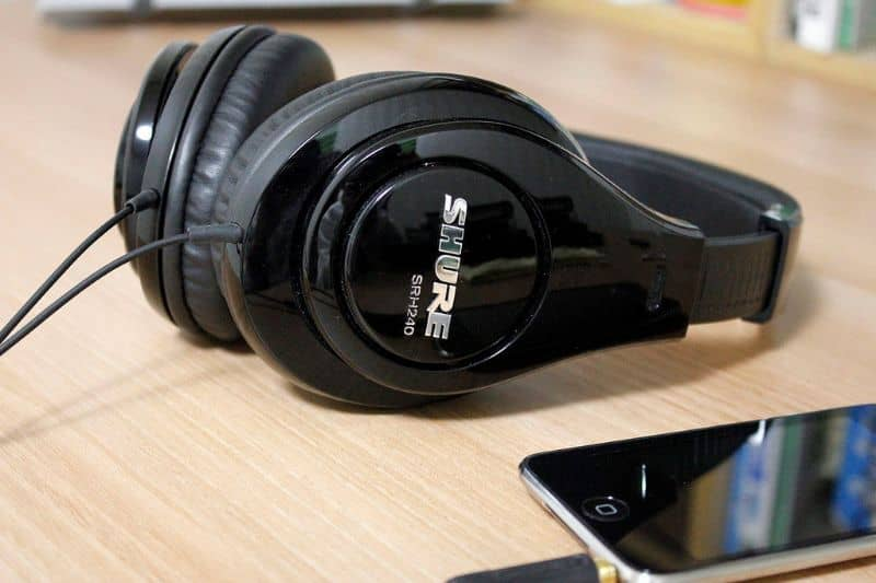 Shure headphones and iPhone device