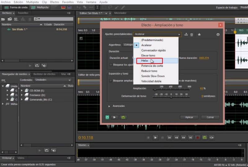 Voice Effects Menu with Adobe Audition CC