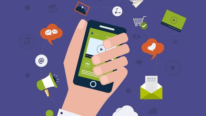 person with mobile phone in hand sees marketing tools