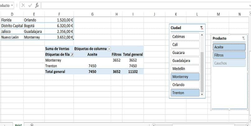 several filters in several dynamic tables in excel