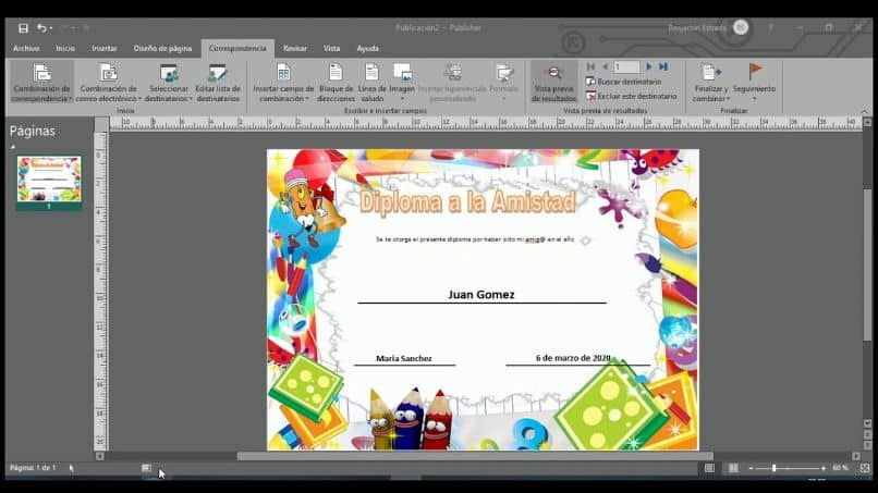 How to Make Cards, Envelopes and Certificates with Merge Correspondence in Microsoft Publisher (Example)