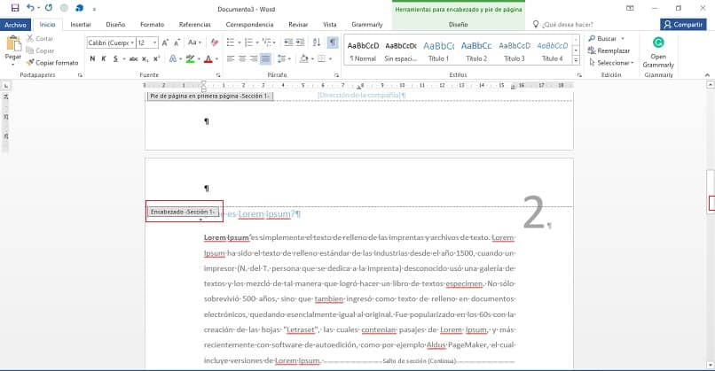 page header in word document