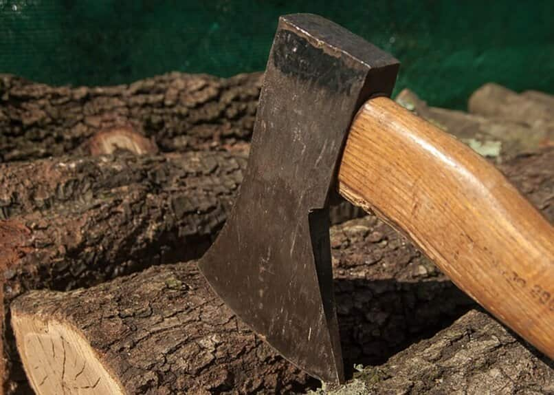 woodcutter's ax on wood