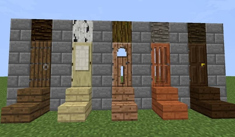 minecraft colorful door and stairs