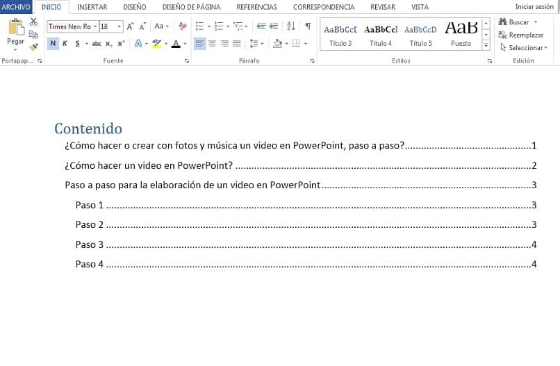 image with automatic table of contents in word