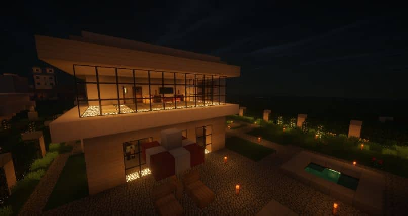 minecraft house at night with lights