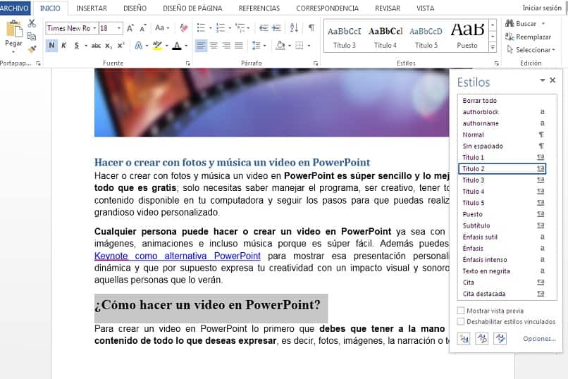 image showing how to add titles in word