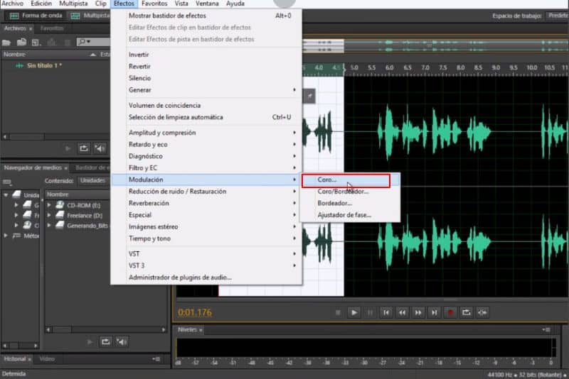 Options menu Adobe Audition CC