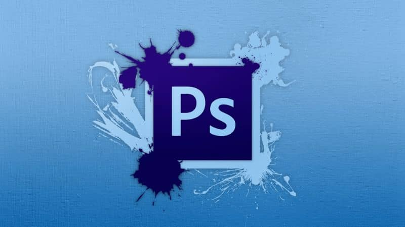 official photoshop logo and blue background