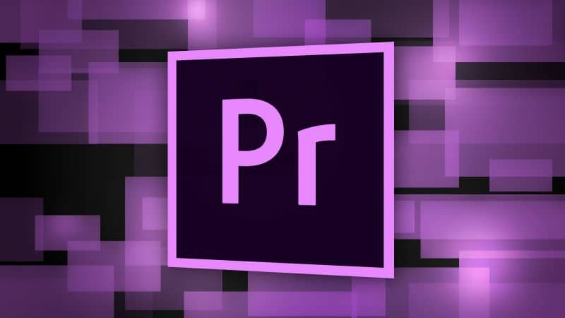 Adobe premiere logo and purple and black background