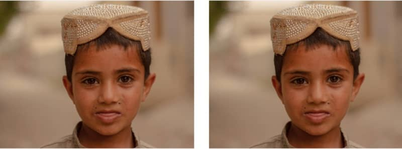 Equal photographs of a child