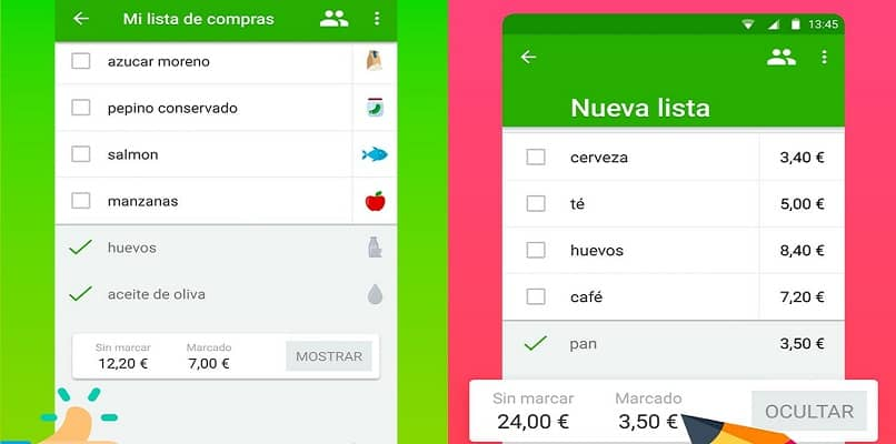 mobile application interface your shopping list