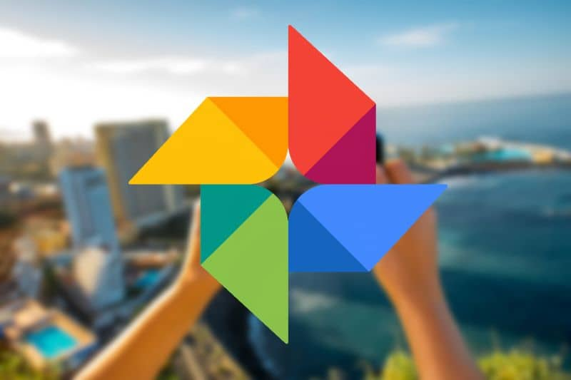 Google Photos logo in hands colorful background