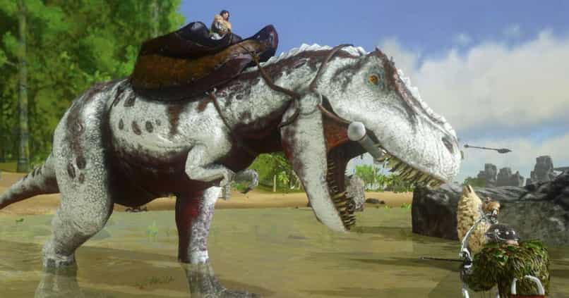 player tames ark dinosaur by upgrading