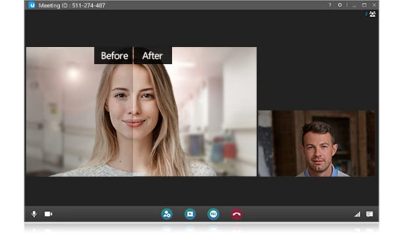 black background video call before after