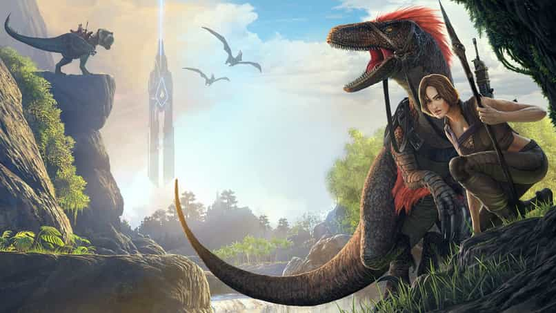 ark survival evolved dinosaur and woman