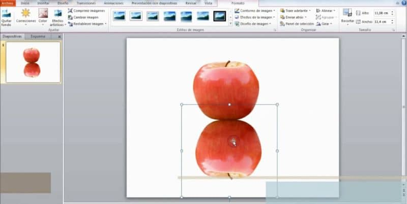 Power Point screen, apple image