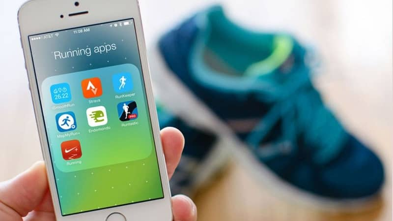 Mobile applications to train sports shoes background