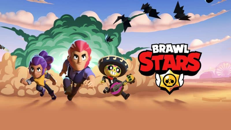 Brawl Stars characters running in desert with background explosion and logo
