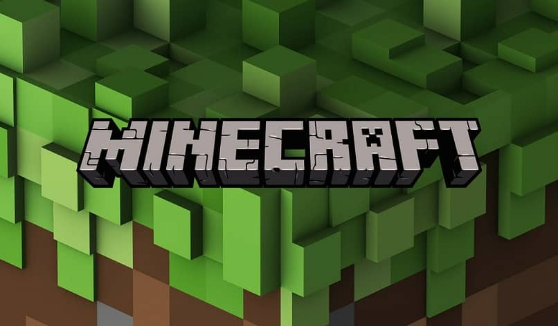 minecraft logo with cube background