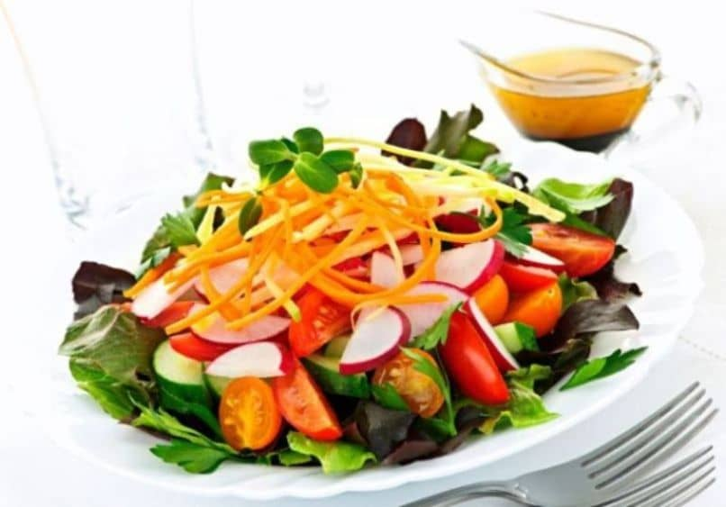 salad and fruit plate