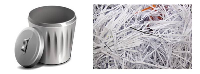 Shredded paper and trash can
