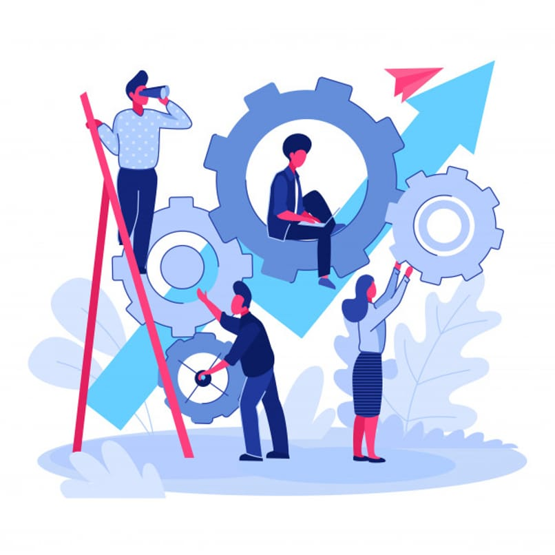 people working as a team