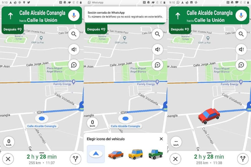 car icon to navigate on Google Maps