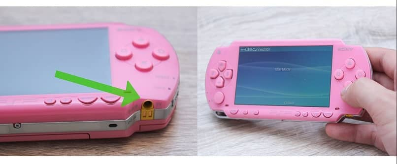 sony psps pink color and its connectors