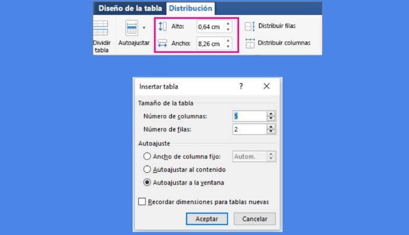 Adjust size in Word
