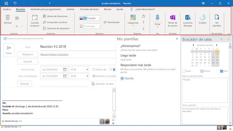 outlook meeting message