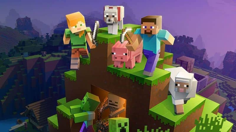 minecraft players and characters on top of a hill
