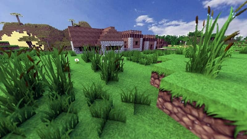 Villagers trade apples in Minecraft